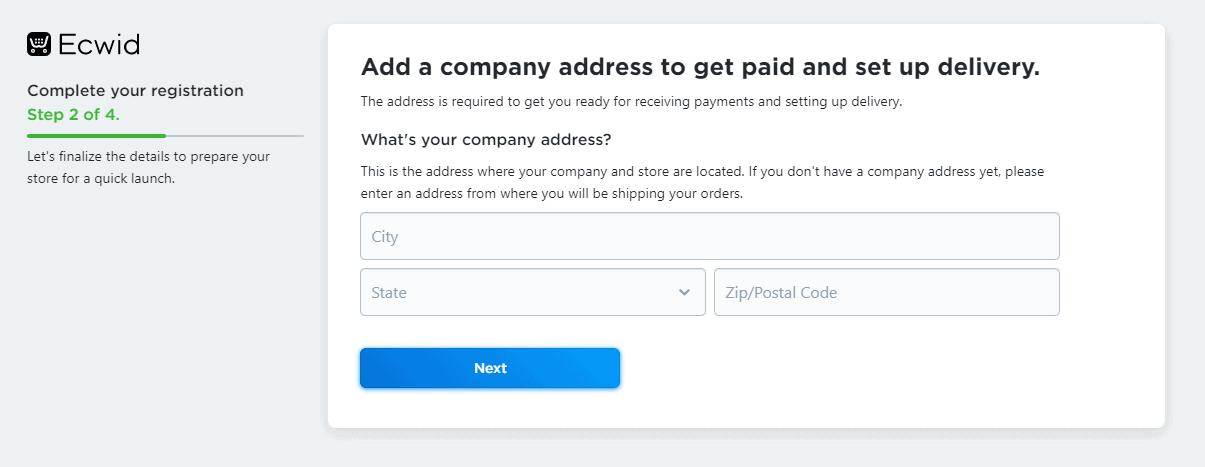 Add company address to setup Ecwid store