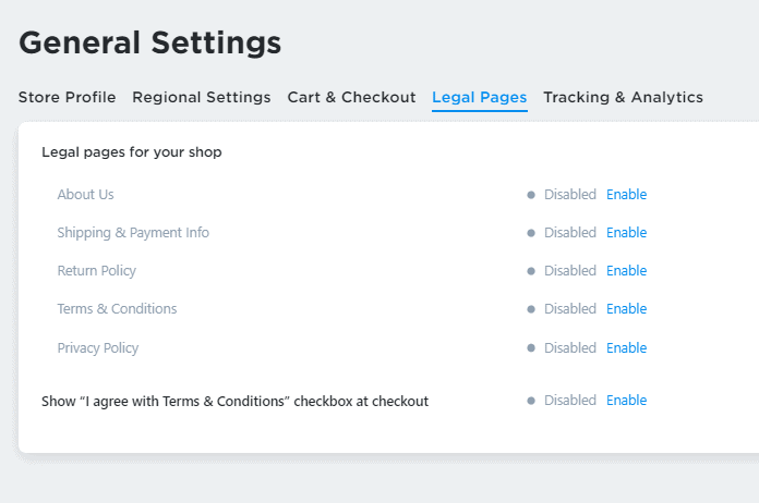 Add legal pages to ecwid store