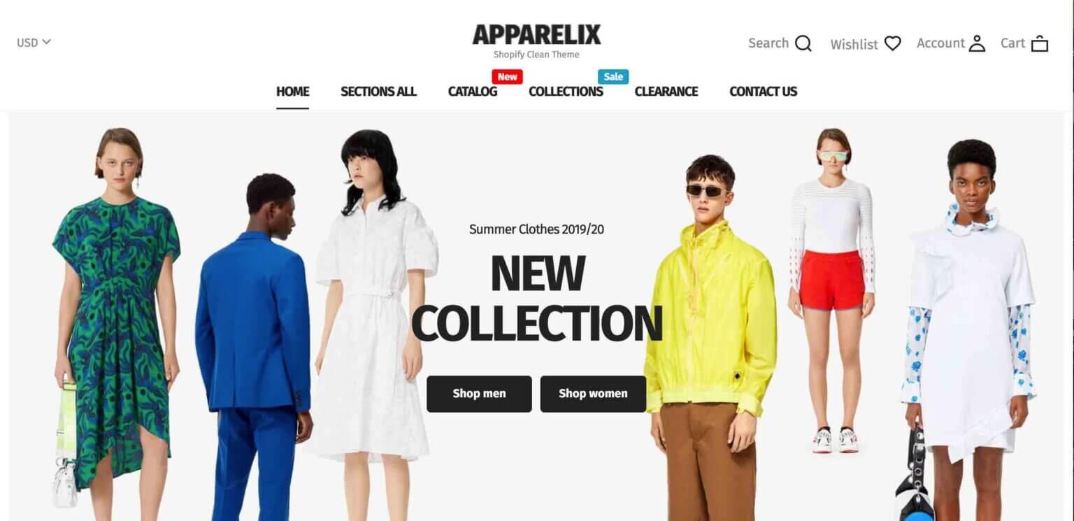 Apparelix Shopify converting Theme