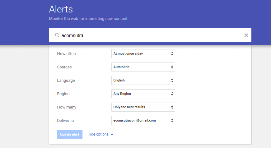 Set alert of keywords using Google Alert