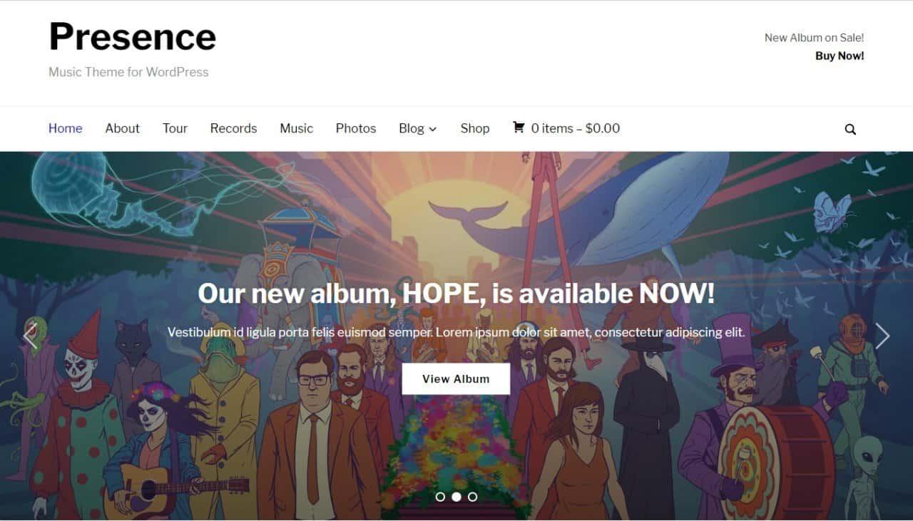 Presence theme for WordPress