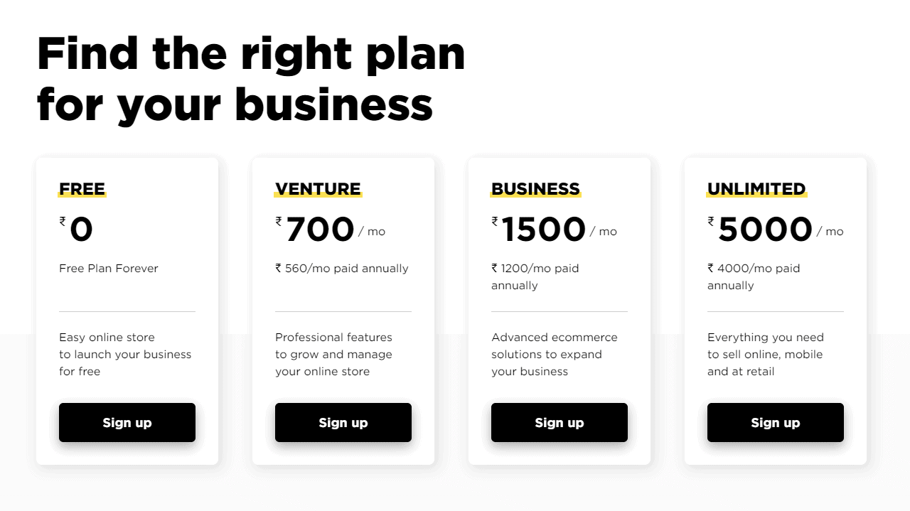 Pricing plan for Ecwid store
