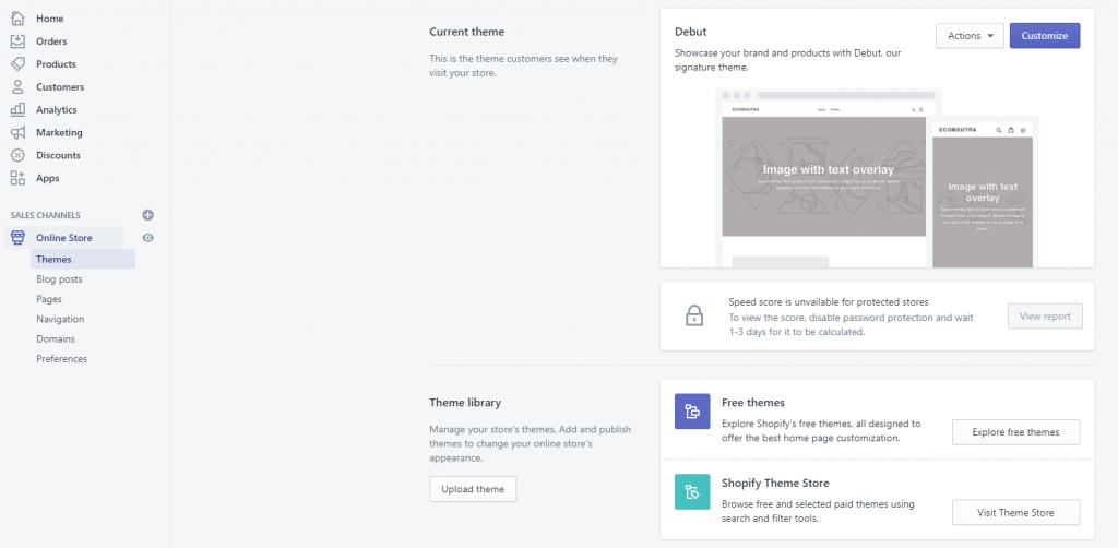 Shopify theme page