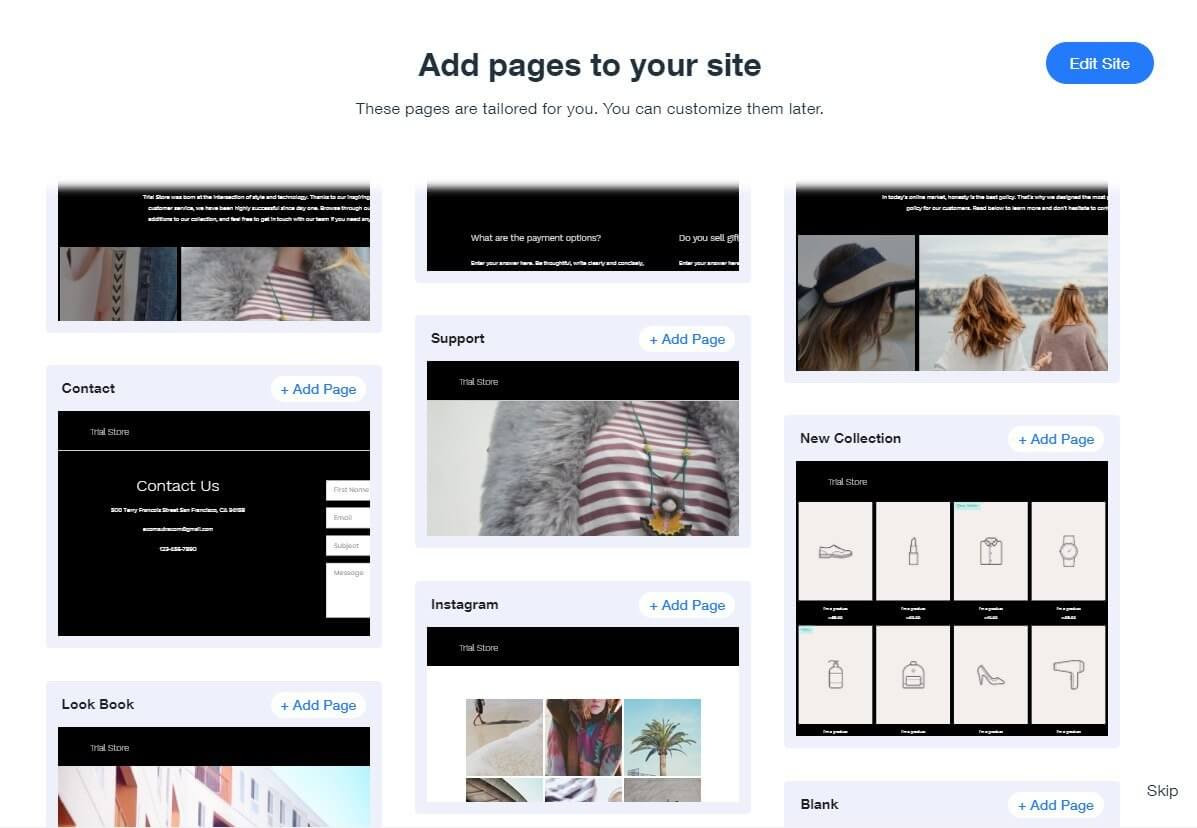 Add pages to your site