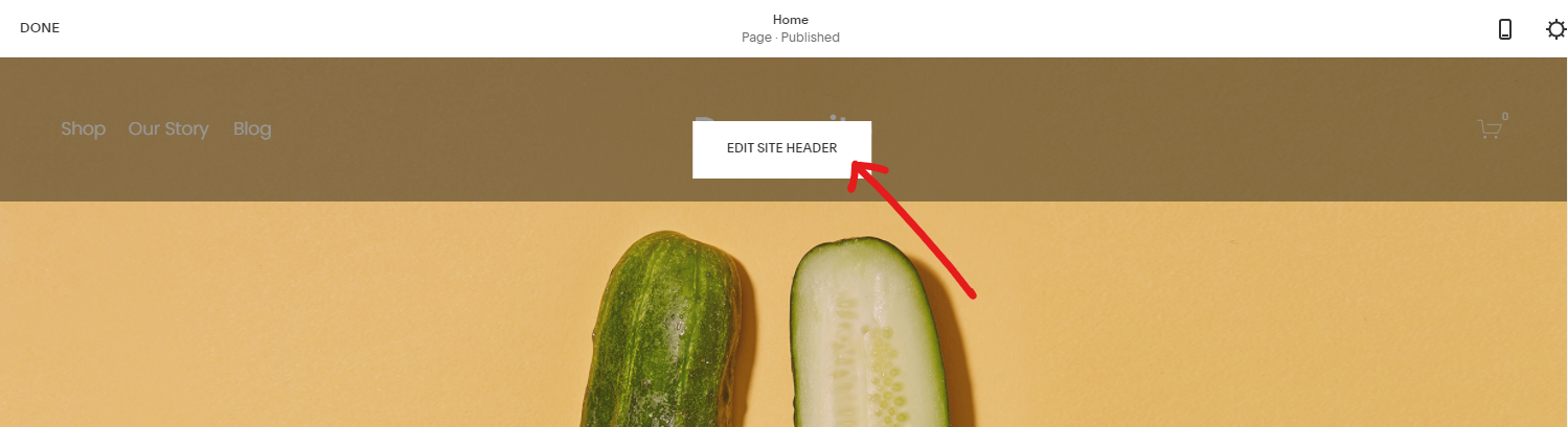 Edit Site Header