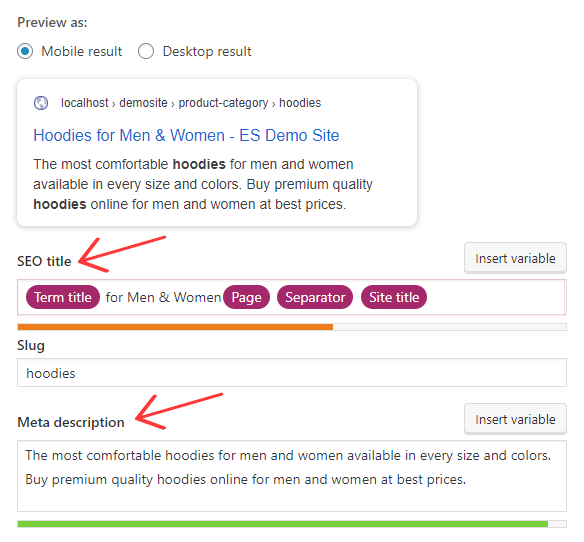 Optimize WooCommerce Product category seo title and description
