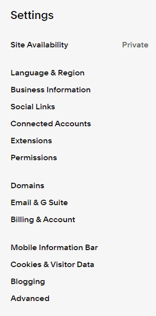 Update Settings of Squarespace site