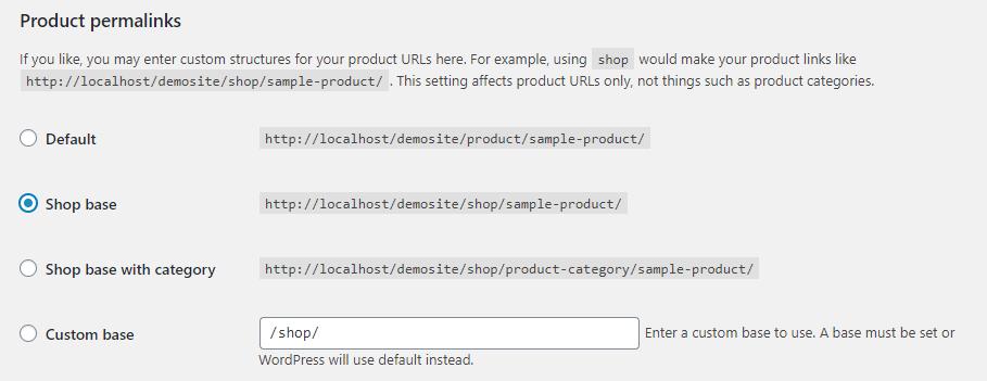 WooCommerce product permalink