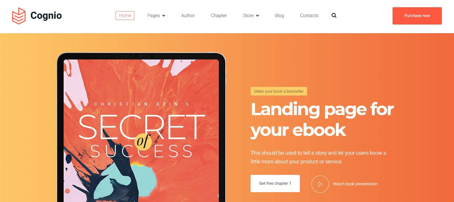 Cognio WordPress Theme for selling ebooks