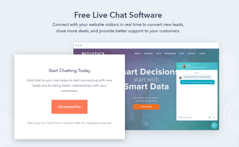 Hubpot-Live-chat for eCommerce