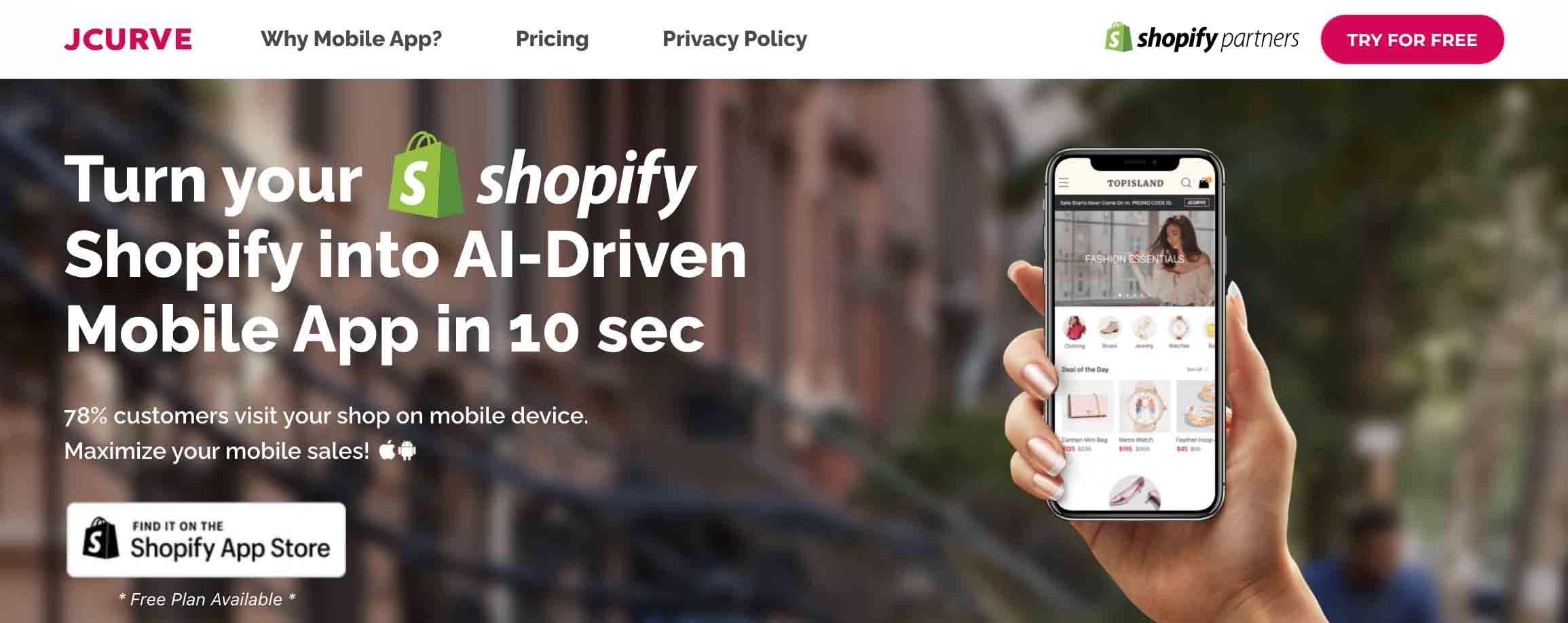 JCurve Shopify Mobile App Builder