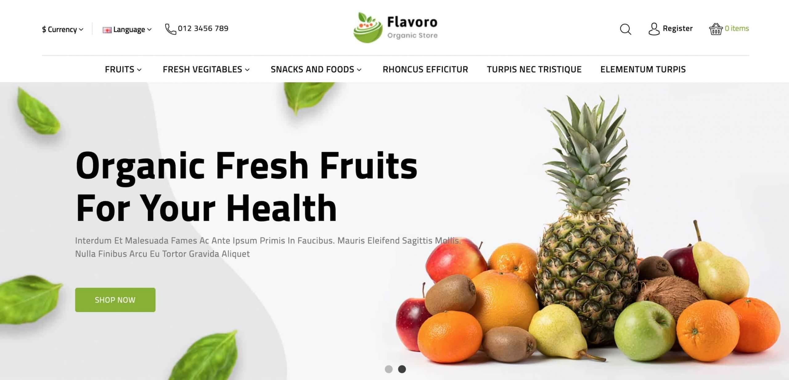 Flavero – Organic Food OpenCart Store Theme