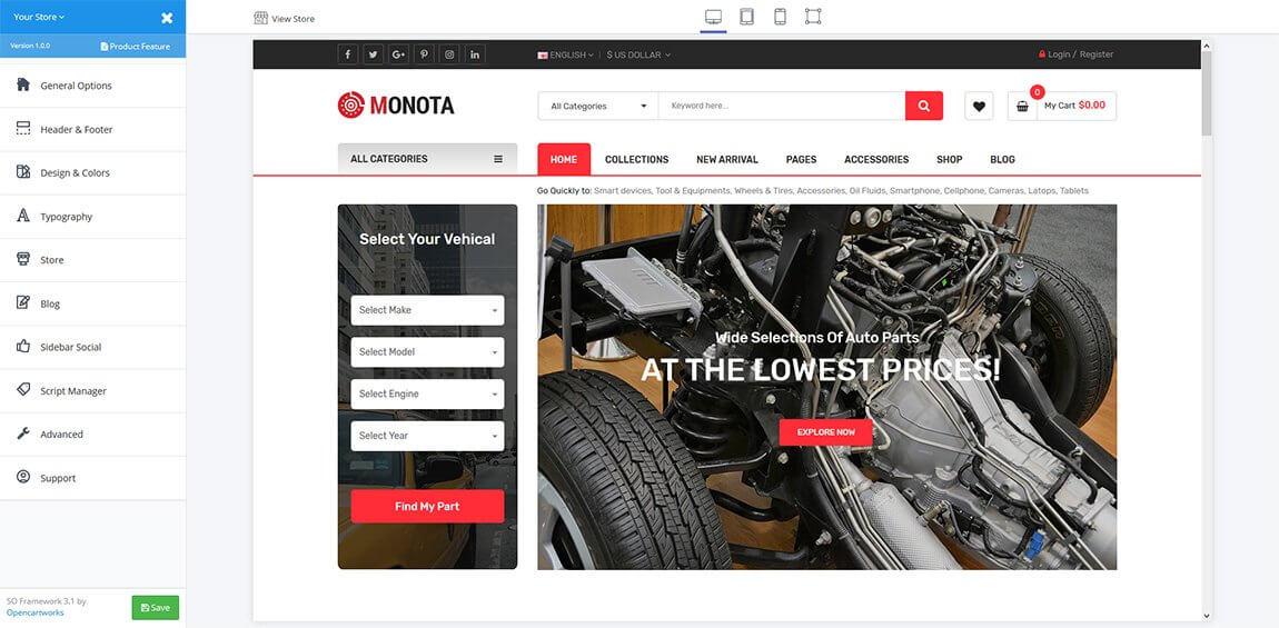 Monota OpenCart Theme