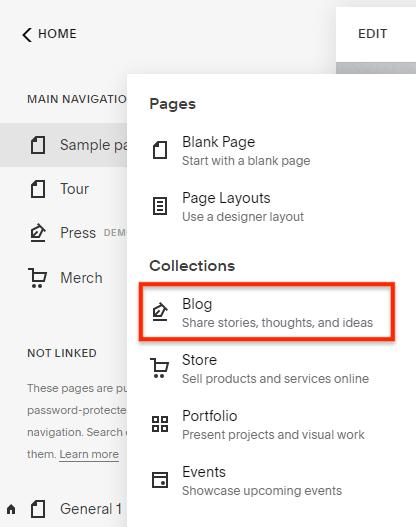 Add blog on Squarespace