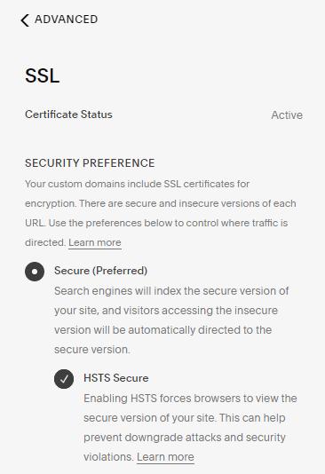 Squarespace SSL certificate