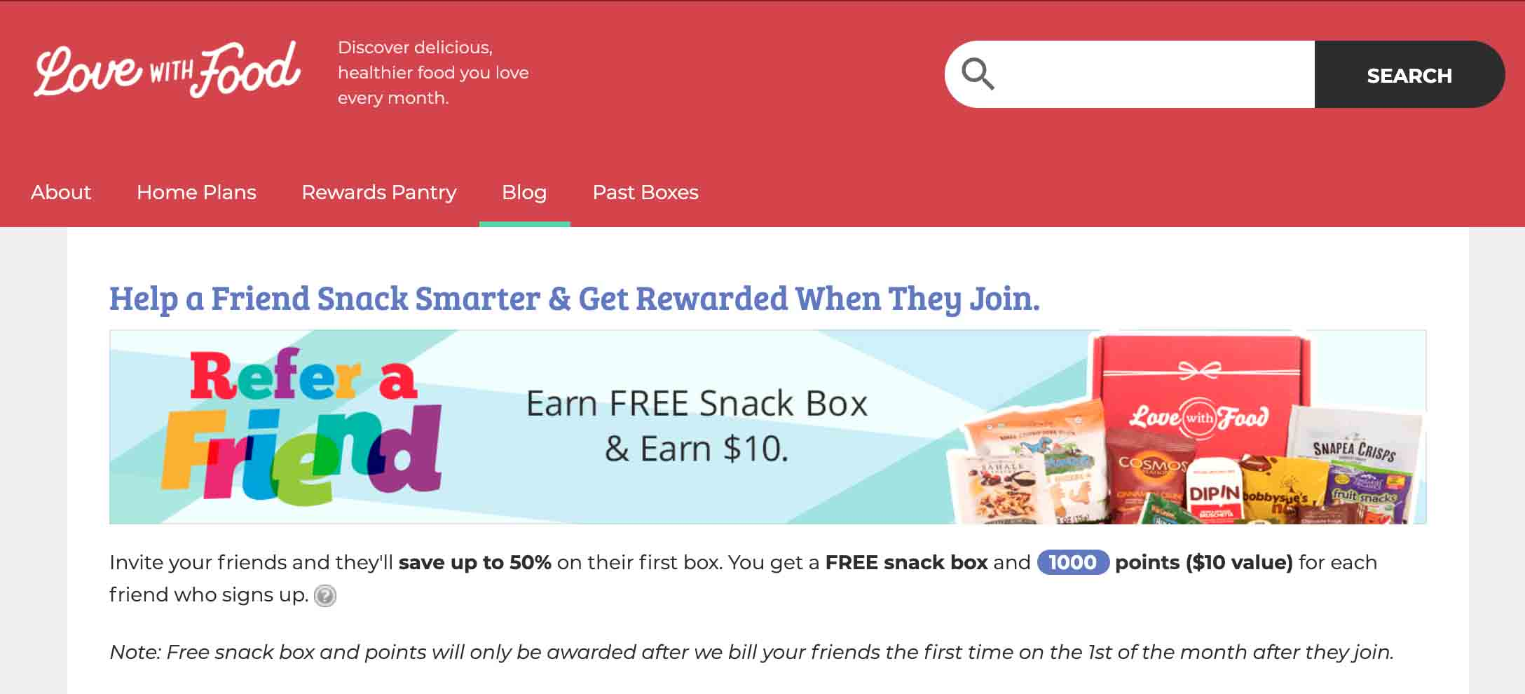 Love with Food referral program