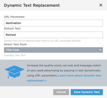 Unbounce Dynamic Text Replacement